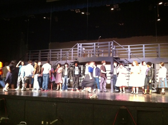 Our cast, rehearsing.